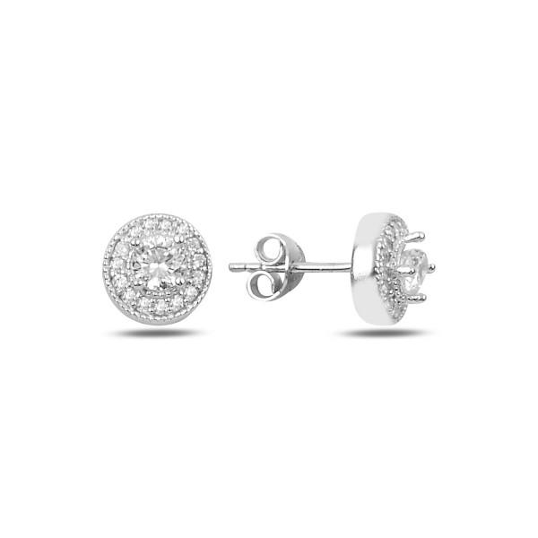 Cercei argint 925, rodiat, inchidere cu fluturas, cu pietre zirconia, montura micropave 7585O824