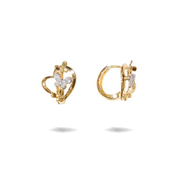 Love time, cercei placati cu aur de 18 k, model inimioara cu pietre zirconia multifatetate - 7712O826