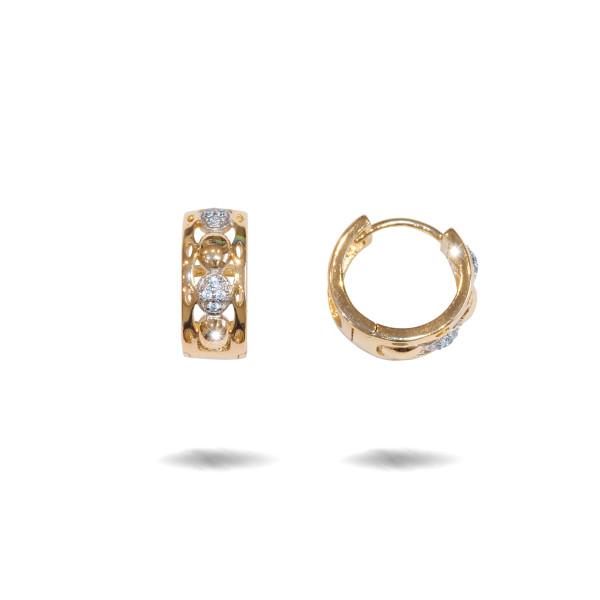 Two tone, cercei placati cu aur galben si alb 18 K, cu pietre zirconia multifatetate, montura micropave ,model creola  - 7718O822