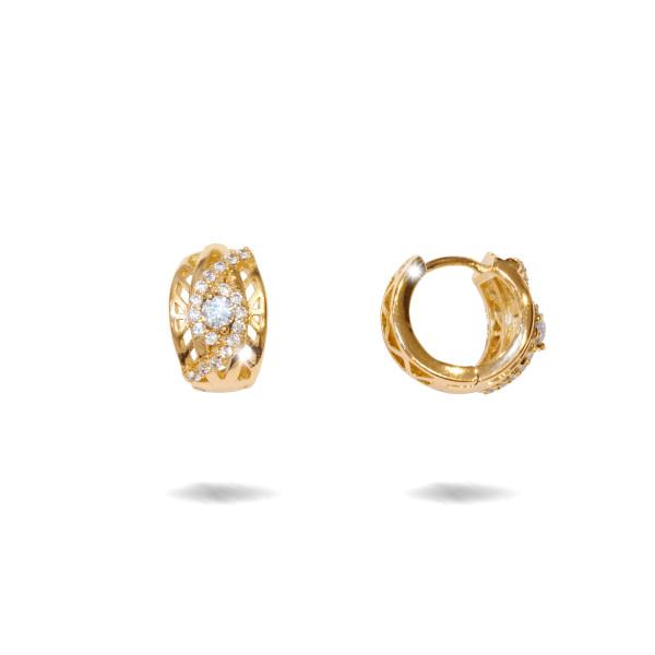 Cercei placati cu aur 18 K, cu pietre zirconia multifatetate, montura micropave , model creola - 7719O820