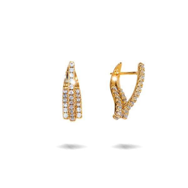 Cercei placati cu aur 18 K, cu pietre zirconia multifatetate, montura micropave , inchidere clasica  - 7721O823