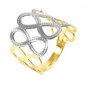 Inel placat cu aur de 18k, 2 microni, productie Brazilia, , combinatie de aur galben si alb 6687O921