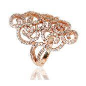 Colectia exclusiv, inel argint 925, rodiat cu rodiu roz, cu pietre zirconia albe