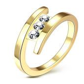 Ambra, inel placat cu aur de 18k, 2 microni, cu trei pietre zirconia albe