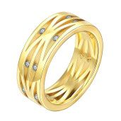 Crystal, inel placat cu aur de 18 k, cu pietre zirconia - 7321O921