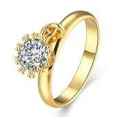 Inel placat cu aur de 18 k, cu cristal zirconia mobil - 7400O918