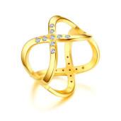 Inel placat cu aur de 18 k, 2 microni, cu pietre zirconia albe - 7451O919