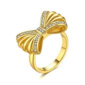 Inel placat cu aur de 18 k, 2 microni, cu pietre zirconia albe - 7453O924