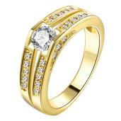 Inel placat cu aur de 18 k, cu pietricele zirconia multifatetate 7456O921