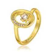 Inel placat cu aur de 18 k, cu pietricele zirconia multifatetate 7457O921