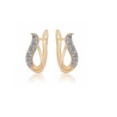 Cercei placati cu aur de 18 k, cu pietre zirconia , montura micropave, 7471O824