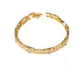 Bratara placata cu aur 18 k, cu pietre zirconia multifatetate  , model grecesc- 7659O455