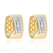 Cercei placati cu aur 18 K , 2 microni, producie Brazilia, cu pietre zirconia , montura micropave - 7671O828